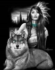 DGA Native Girl and Wolf Stretched Canvas Signed Wall Art 12x16 Inches Harmony