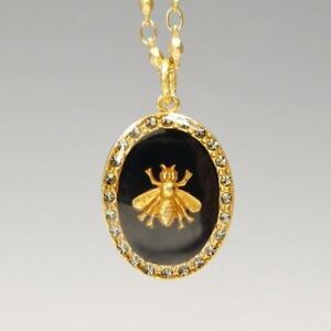 La Vie Parisienne Catherine Popesco Oval Enamel Bee Pendant Necklace in Black