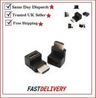 Male to Female 90 Degree & 270 Degree Right Angle HDMI Adapter Gold Plated conn.