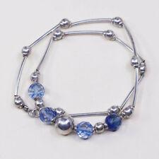 "20"", vtg Sterling silver handmade necklace, 925 bar, heads w/ blue crystal"
