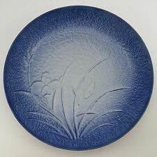"JAPANESE ARITA MANSEN Signed 12"" CHARGER EMBOSSED IRIS ORCHID Serving Plate BLUE"
