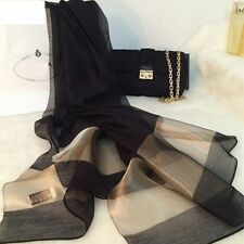 Foulard Femme écharpe châle étole Femme 100% soie silk noir_MBBF506