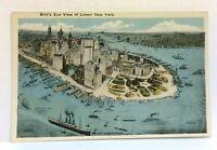 New York City NY Birds Eye View Of Lower New York Vintage Postcard