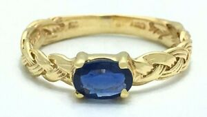 GENUINE 0.68 Cts BLUE SAPPHIRE ROPE STYLE RING 10k GOLD ** Free Certificate **