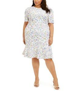 Calvin Klein Plus Size Floral Print Ruffle Hem Dress White Size 16W