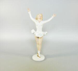 "WALLENDORF, FIGURE ICE SKATING GIRL 10"", HANDPAINTED PORCELAIN FIGURINE ! (J060)"
