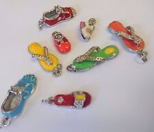 8 enamelled metal shoe charms, assorted designs BARGAIN