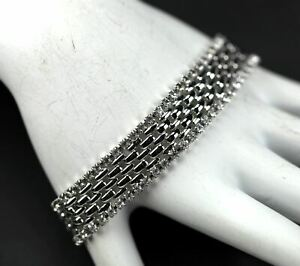 KJL Kenneth Jay Lane Crystal Rhinestone Polished Mesh Sleek Elegant Bracelet