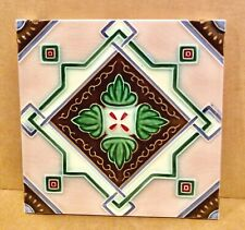 New listing Japanese Geometric Tile, Dk, Danto Kaisha, Deco, 1920's, 6x6, Ceramic , Japan