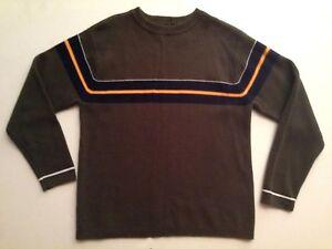 EMERGENCY EXIT Boys Army Green Bold Stripe Cotton Blend Crew Neck Sweater 10/12