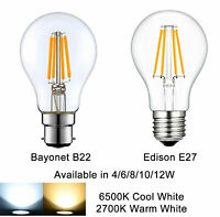 B22/E27 Filament LED Lights Bulb vintage Edison Bayonet Lamps 4/6/8/10/12W Clear