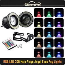 "3"" Multi-Color RGB Projector LED Fog Light Lamp DRL w/ COB Halo Angel Eyes Rings"
