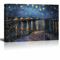 """Starry Night Over The Rhone by Vincent Van Gogh - Canvas Wall Art- 24"""" x 36"""""""