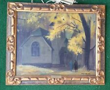 ANTIQUE OIL PAINTING LISTED ARTIST SIGNED E. OSCAR THALINGER 1885-1965 CHURCH WI