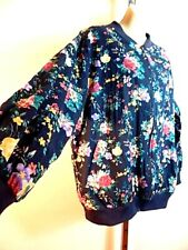 Vintage Usa 1990s Options Light Spring Blue Flowers Jacket Top Bomber Coat 1X