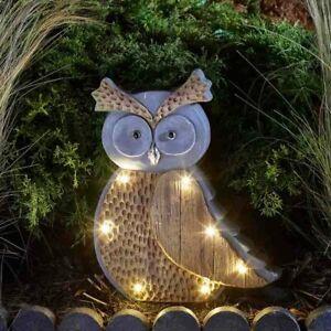 Solar Powered LED Stone Wood Effect Owl Light Outdoor Garden Ornament