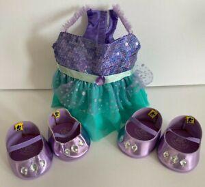 Build-A-Bear Disney Palace Little Mermaid Ariel Dress Purple W/ Matching Shoes