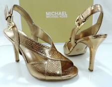 Michael Kors Becky Dress Slingback Heels Sandals Antique Gold Size 6.5