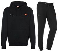 ellesse Mens Sportwear Quilt Track Top Hoodie, or Jog Pants Black Mix Match Suit