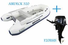 Quicksilver 320 Air Deck White PVC Inflatable Boat & Parsun 20hp Outboard Bundle