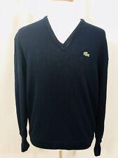 Izod Lacoste Vintage Mens V Neck Sweater Sz XL Navy Blue USA Made Orlon Acrylic