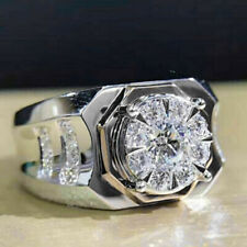 Sapphire Ring Wedding Jewelry Ring Sz 9 Fashion Women 925 Silver Round Cut White