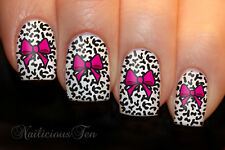 Pink Bow on Animal Print Background Art Water Nail Transfer Decal 12pcs ST8061