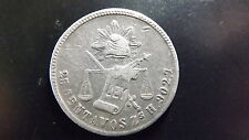 1872 Mexican Silver 25 Centavos , Zacatecas Mint Zs H