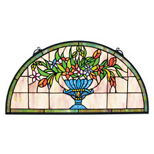"24"" Half Moon Demi Lune Flower Vase Bouquet Hand Crafted Stained Glass Window"