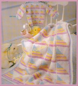 CROCHET PATTERN baby blanket DK cot pram cover textured jumper check set (1180)