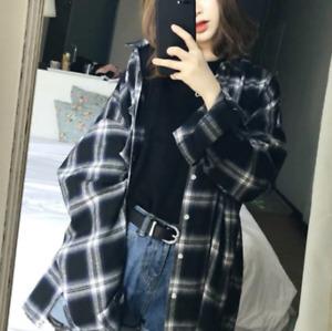 Korean Japanese instagram fashion oversized plaid button-up shirt (C11)