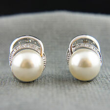 18k white Gold GF pearls wedding bridal earrings with Swarovski crystals element