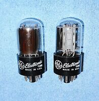 2 General Electric 6SN7GTB Vacuum Tubes - 1970's Vintage Audio Twin Triodes