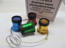 set 4 monocoli alluminio 2,5 a 10x + supporto molla orologiaio orologi loupes