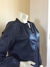 VINTAGE 1970's Calvin Klein Navy Blue Leather Rushed Collar Shirt Jacket Sz 10