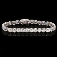 30 Ct Created Diamond 14K White Gold Over Sterling Silver Tennis Bracelet 8""