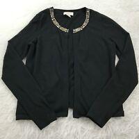 Ann Taylor LOFT Women's Size Small Black Open Front Jewel Neck Cardigan Sweater