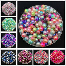 4/6/8/10mm Rainbow Imitation Pearl Round Pearl Spacer Loose Beads Jewelry Making