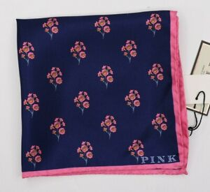 "NWT Thomas Pink Men's Silk Navy Pink Floral Pocket Square 12.5"" x 12.5"""