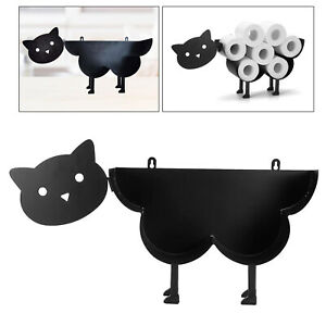 Toilet Paper Holder Free Standing Wall Mount Storage Stand Roll Holders Cat