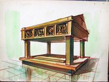 Acquerello '900 su carta Watercolor Architettura futurista cubista razionale-91