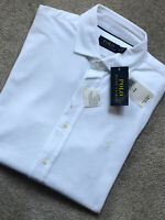 RALPH LAUREN WHITE CLASSIC FIT POLO L/S SHIRT TOP USA MODEL - M & L- NEW & TAGS