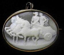 14K Gold SHELL CAMEO Pin 4 HORSE Chariot +Couple Classic Antique Brooch Pendant