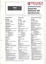 Becker Original Service Manual für Grand Prix  electronic  763