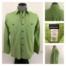 Patagonia Vented Mens S Organic Cotton S/S Green Plaid Check Collared Shirt