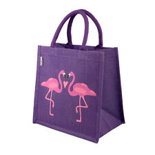 PINK FLAMINGOS & HEART PURPLE JUTE SHOPPING BAG fair trade eco shopper NEW!