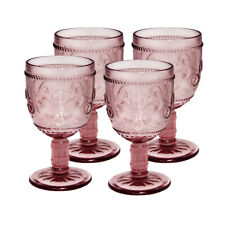 Fleur-De-Lys, Stemmed Wine Glass, Drinkware glass, cap 10 oz, Pink, set of 4