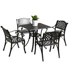 5PCS Outdoor Dining Set Patio Furniture Cast Aluminum Bistro Table Chairs Bronze