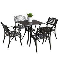 Outdoor Dining Set Patio Cast Aluminum Bistro Table Chairs Bronze Umbrella Stand