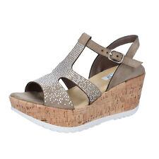 scarpe donna KEYS 36 EU sandali beige camoscio strass BZ866-B